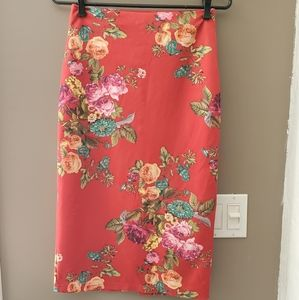 🍋Red Floral pencil skirt